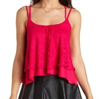 Layered Lace Strappy Swing Crop Top by Charlotte Russe - Granita