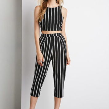 Striped High-Waisted Capris