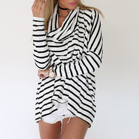 Striped Pattern Scarf Neck Long Sleeve Fall Blouse