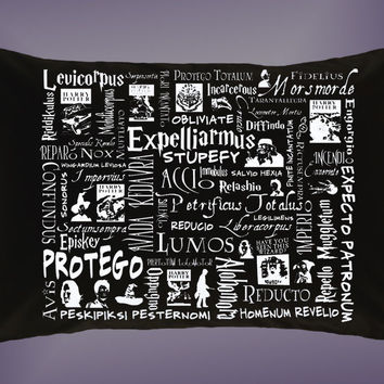 New Harry Potter Spells Quotes Expelliarmus Pillow Case 16 x 24 20 x 26 Cover
