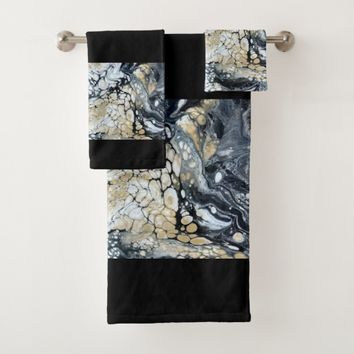 Bold Black Gold & White Border Bathroom Towel Set