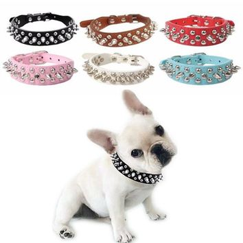 Leather Rivet Spiked Studded  Dog Collar