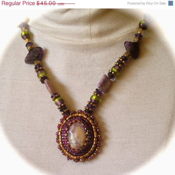 ON SALE Charoite Necklace, Amethyst beads, Green and Purple Lampwork, Pendant Necklace