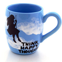 Mug In Blue with Silhouette of Girl on Swing Happy Thoughts