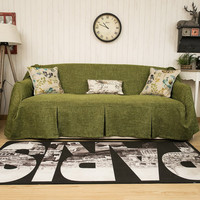 One Piece Heavy Fabric Sofa Furniture Cover Throw with Pins / Dark Green