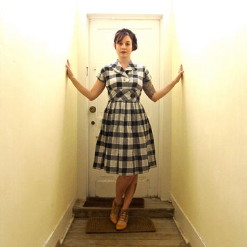 Vintage 1950s Black and White Checked Day Dress