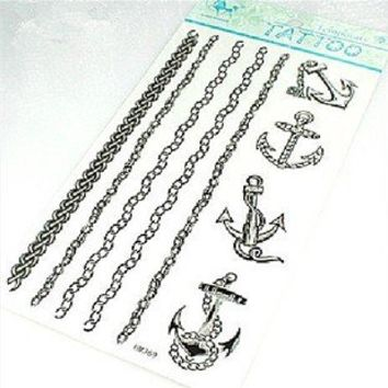 Sailor Jerry Anchors Tattoo Stickers Temporary Tattoos Fake Tattoos Paste Neck / Shoulder / Chest / Hand /, Etc. Fashion Models Single Noble Alternative Avant-garde Barcode 2pcs/lot