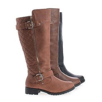 Paper1 Brown Pu By Top Moda, Knee High Round Toe Quilted Shaft Zip Up Riding Boots