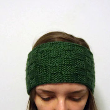 Hand Knit Headband in Dark Green or Harvest Rose Pink Basketweave Pattern, Ships Free