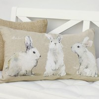 WATERCOLOR BUNNY LUMBAR PILLOW COVER