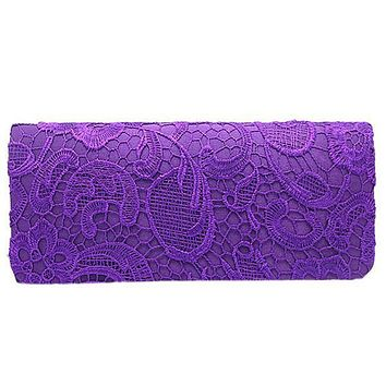 TEXU Bridal Wedding Satin Evening Bags Lace Floral Day Pouch Clutches women Purse Party