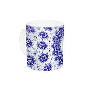 "Iris Lehnhardt ""M2"" Blue White Ceramic Coffee Mug"
