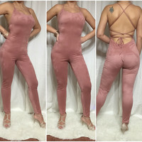 Think Pink Suede Jumpsuit