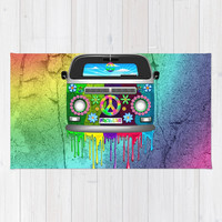 Hippie Bus Van Dripping Rainbow Paint Rug by bluedarkatlem