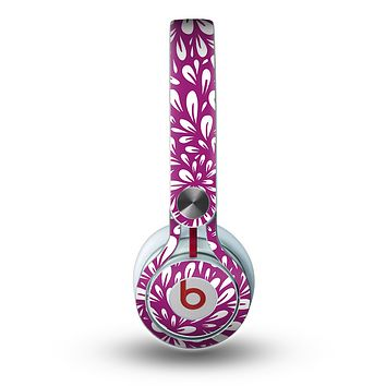 The Purple & White Floral Sprout Skin for the Beats by Dre Mixr Headphones