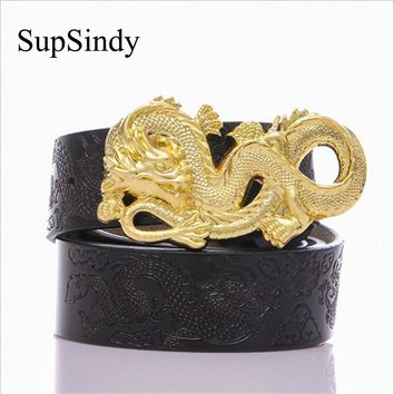 SupSindy Leather Belts Men luxury Chinese Gold Dragon Buckle Punk Male Waistband Carved craft Black Genuine Leather Men's Belt
