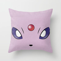 Espeon Minimalistic Pokemon Poster Eevee Evolution Throw Pillow by Jorden Tually Art