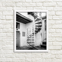 Black and white photography, Europe print, Greece photography, black and white print, fine art photography, wall art print, spiral staircase