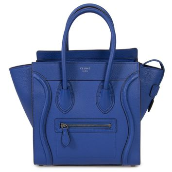 Celine Micro Luggage Tote Bag in Indigo Baby Drummed Calfskin Leather