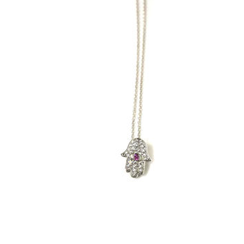 Large Sterling Silver Hamsa Hand Necklace