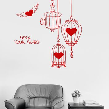 Vinyl Wall Decal Inspiration Love Romance Heart Birdcages Art Decor Stickers Unique Gift (ig3055)