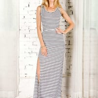 Monochrome Stripe Slit Side Sleeveless Maxi Dress