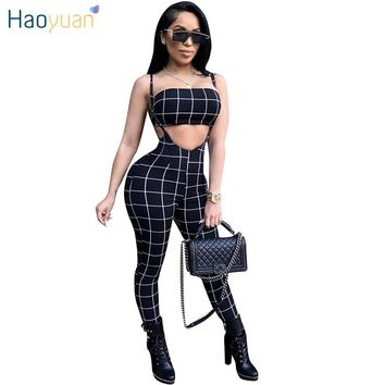 Black And White Plaid Sexy Jumpsuit