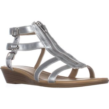 Rialto Gracia Front Zip Gladiator Sandals, Silver, 8 US