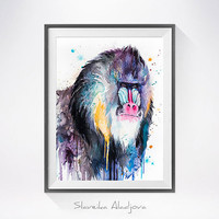 Mandrill watercolor painting print, animal art, animal watercolor, monkey art, monkey watercolor, Mandrill art,animal Illustration