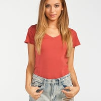 Active V-Neck Womens Tee Rust  In Sizes