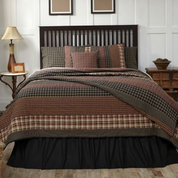 Beckham (CALIFORNIA KING) Patchwork Quilt & Shams Set - Rust, Creme, Black w/Gold Accents - Country Primitive