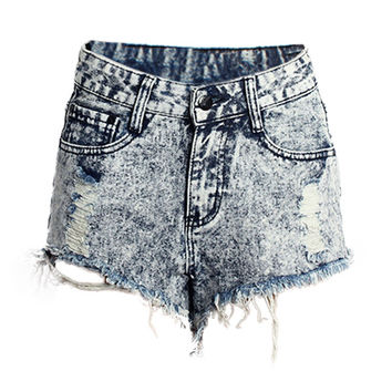 Denim Blue Hole Designed Mini Shorts