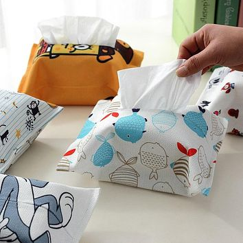 Pastoral Tissue Bag Holder Home Car Tissue Box Case Container Fish Thread Polyester Fabric Towel Napkin Pouch Papers Extraction