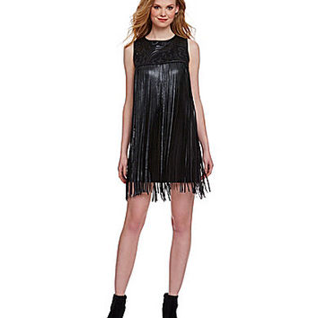 Chelsea & Violet Faux-Leather Fringe Dress - Black