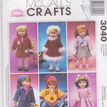 "Pattern for 6 complete outfits for 18"" Gotz/American Girl dolls includes ballerina dress, fur trimmed dress McCall's 3040 CUT and COMPLETE"