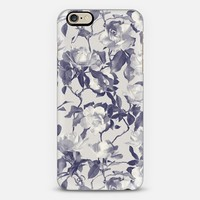 Navy Blue Monochrome Vintage Rose Pattrn iPhone 6 case by Micklyn Le Feuvre | Casetify