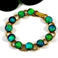 Blue and Green Bracelet, Handmade Sparkling Dichroic Glass, 7 Inch