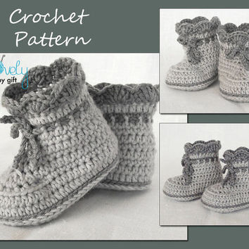 Crochet Baby Shoes Pattern, Baby Booties Crochet Pattern, Instant Download, CP-203