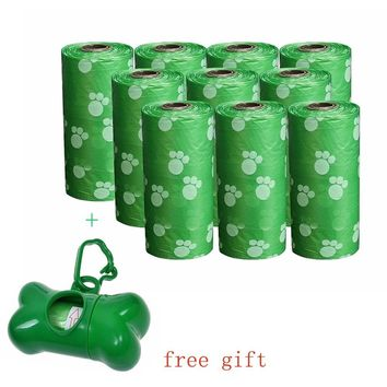 10Rolls + One Free Dispenser Box Pet Poop Bag Dog Waste Garbage Bags Clean up Refill Bags Bulk Roll Shit Picking Pet Carrier Bag
