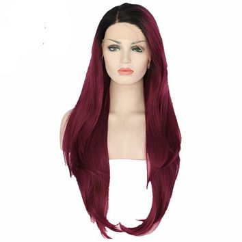Safiya- Black Ombre Maroon Red Glueless Heat Resistant Synthetic Lace Front Wig