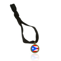 Flag of Puerto Rico Stretchy Elastic Hair Tie w- Brass Charm