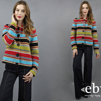 Rainbow Sweater Rainbow Knit 90s Sweater 1990s Sweater Wool Sweater Striped Sweater Big Buttons Sweater Colorful Sweater M