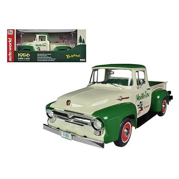 "1956 Ford F 100 Pickup Truck \Mountain Dew"" Limited to 1250pc 1/18 Diecast Model Car by Autoworld"""
