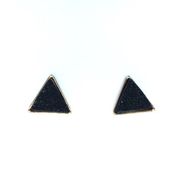 Stone Temple Triangle Earrings In Black