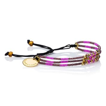 Wayuu Handwoven Gold Plated Love Yourself Beaded Bracelet (Berries) - Castellano