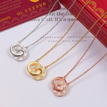 Letter Double Ring Full Diamonds Pendant Necklace