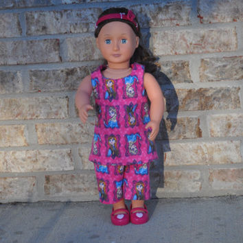 FROZEN American Girl Doll pajamas.  American Girl doll clothes.  pink flannel, 2 piece nightgown and pajama pant set.  Ready to ship.