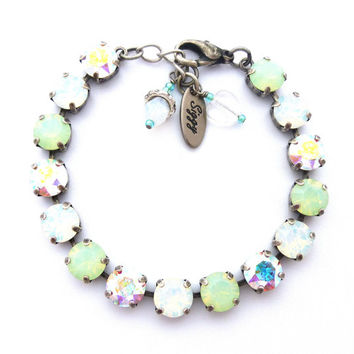 Swarovski Crystal Tennis Bracelet, Necklace, Earrings, 8mm Mint Opal, White Opal, Shimmering AB, Select A Finish, Siggy Jewelry