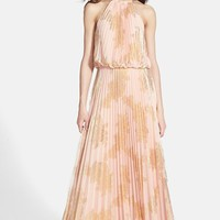 Xscape Foiled Pleat Blouson Dress
