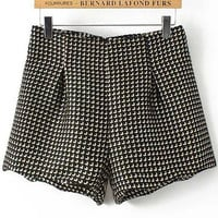 Black Zipped Fly Tweed Plaid  Shorts
